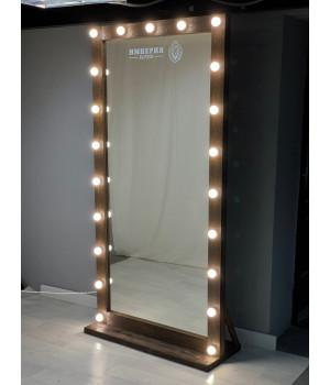 Гримерное зеркало из массива дерева с подсветкой 190х80 цвета кофе
