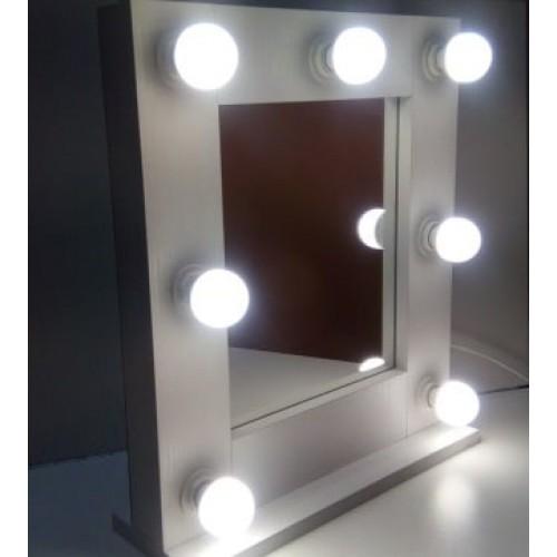 Маленькое гримерное зеркало с подсветкой 50х50 см 7 ламп